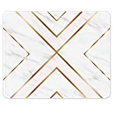 Auhoahsil Mouse Pad, Square Marble Design Anti-Slip Rubber Mousepad with Durable Stitched Edges for Office Gaming Laptop Computer Men Women, Pretty Customized Pattern, Modern Gold Cross Line Marble