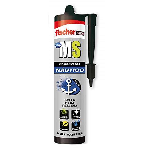 Fischer 1 sellador de juntas para barcos MS Náutico (cartucho 290 ml) negro, polímero mono