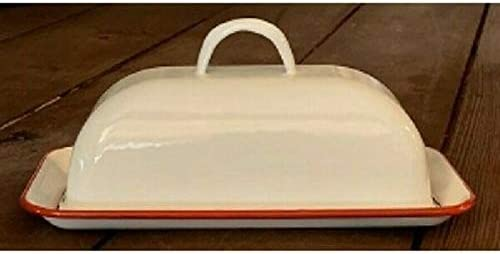 for Enamelware Covered Max 88% OFF Butter Dish White Enam Quality inspection Look Retro VTG RED