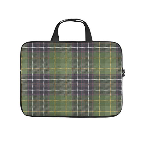 Green Scottish Tartan Double Sided Printed Laptop Sleeve Protective Case Waterproof Neoprene Laptop Bag Case Cover Trendy Notebook Bag Sleeve Case Laptop Accessories
