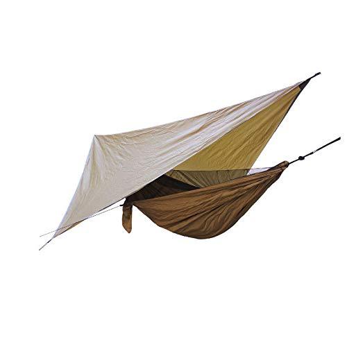 HUANXI Portátil Doble Kit Camping con Toldo + Bolsa De Almacenamiento + Correas,300kg de Capacidad de Carga (270x140cm) Marrón Toldo Camping para Acampar, Mochilero, Kayak Y Viajes