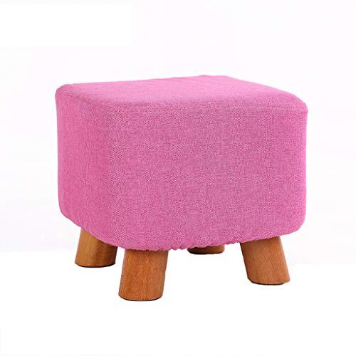 LJZslhei Hocker Mode Moderne Kleine Bank Couchtisch Hocker Hause Kreative Wohnzimmer Massivholz Hocker Rosa