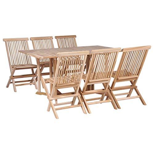 vidaXL 7 Piece Solid Teak Wood Folding Garden Dining Set Butterfly Table Chair