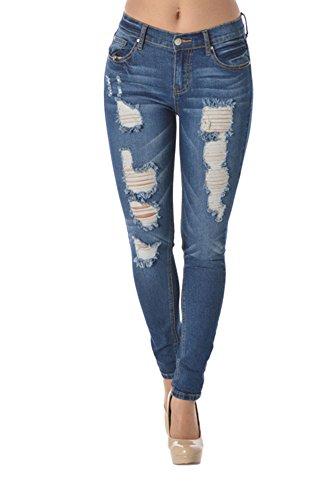American Bazi Faded Ripped Skinny Fit Jeans RJL350 - Dark Blue - 3 - C6G