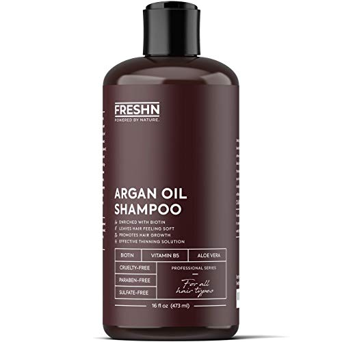Moroccan Argan Oil Shampoo with Biotin and Vitamin B5 | Anti-Hair Loss, Restorative Formula, Stimulate Hair Growth, Prevent Hair Loss | For All Hair Types, Men & Women | 16 Fl Oz / 473ml
