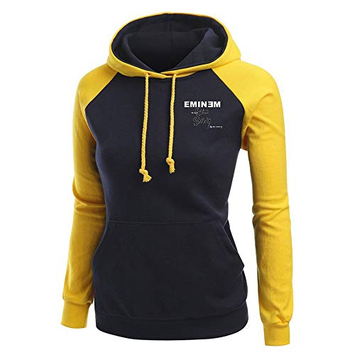 Eminem Pullover Herbst-Sweatshirt-Langarmshirt Damen Patchwork Pullover Hoodie Sport Tops Frauen Unisex (Color : Yellow05, Size : S)