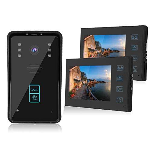 Videoportero con Cable de 7 Pulgadas 1V2 con botón táctil, Sistema de Acceso de Control Remoto con Tarjeta RFID Profesional 100-240V(EU)