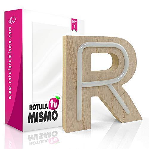 Letras de Neon con madera |Sin cables | Madera de 2,5 cm de grosor | Letras para cualquier evento o decoración de casa | (R)