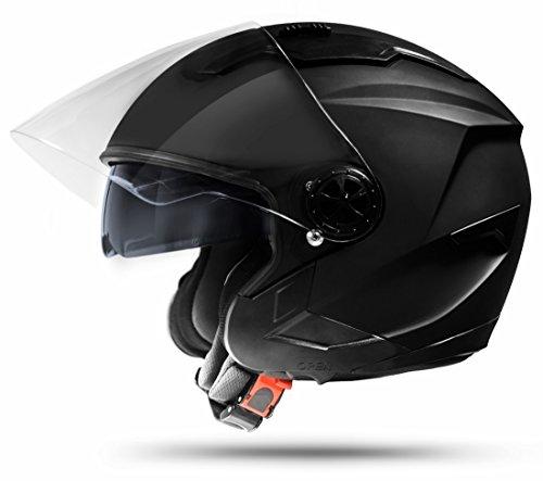 ATO Moto Jet Helm LA Street Motorradhelm mit Doppelvisier System Integrierte Visiermechanik 4 punkt Belüftung Sicherheitsnorm ECE 2205 Größe: S 55-56cm
