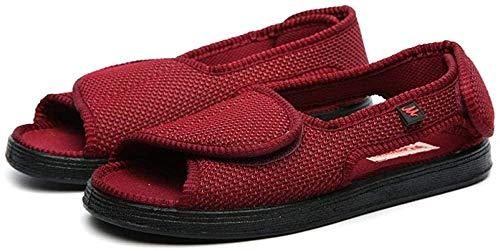 B/H Klett-Sandalen,Gesundheits-Schuh,Geschlossene Klettschuhe, geschwollene Füße, Valgus-Daumen-Diabetikerschuhe-Rotwein_39,Memory Foam Diabetiker-Hausschuhe