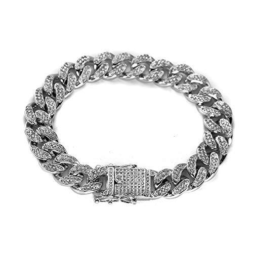Bokning Hip Hop Iced Out Chain Armband Edelstahl Panzerkette Armband mit Diamant Herren Damen