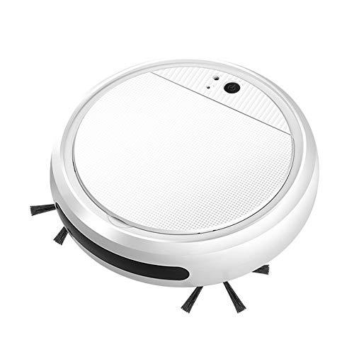 Robot inteligente Aspiradores pequeños Robot de barrido para piso, suciedad, auto hogar, USB, máquina de limpieza recargable (color: blanco)