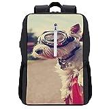 GKGYGZL Mochila de viaje,Un lindo perro Westie West Highland Terrier montando en un automóvil por una carretera de vecindario urbano,Bolsa para negocios antirrobo delgada con puerto de carga USB