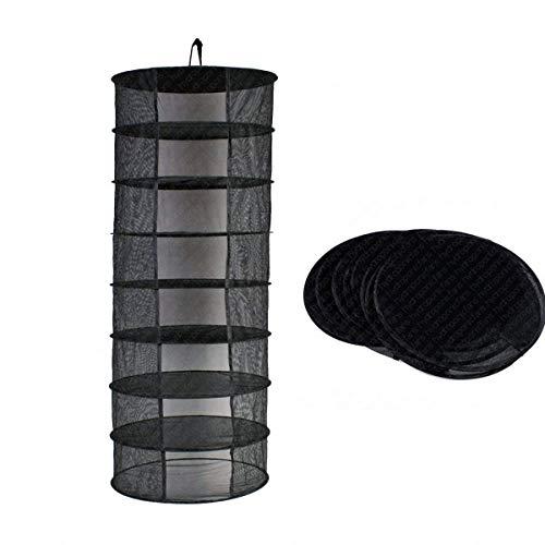Suspendue Filet de Séchage 8 étagères Pliable à Linge pour Camping Rangement Portable Pique-nique Camping Pêche Voyager Noir