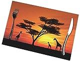 MAY-XCustom Placemat,Mantel Africano De La Puesta del Sol, Manteles Individuales Lindos Divertidos para La Decoración del Restaurante Set of 4,30x45cm