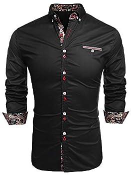 Coofandy Men s Fashion Slim Fit Dress Shirt Casual Shirt,X-Large,01-black