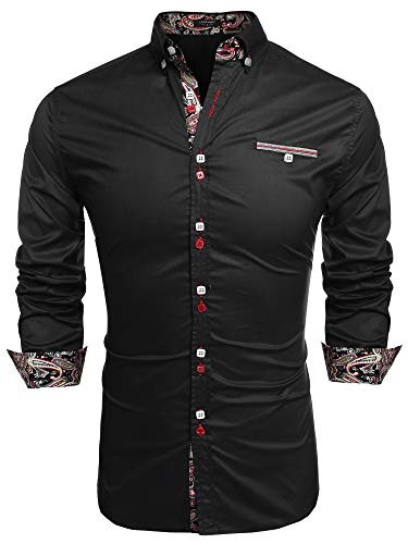 Coofandy Men's Fashion Slim Fit Dress Shirt Casual Shirt,X-Large,01-black