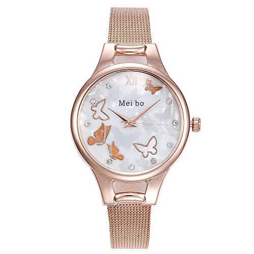 Armbanduhr Damen Ronamick MEIBO Damen Casual Quartz Edelstahl Butterfly Watch Analoge Armbanduhr Armband Uhr Uhren (Rose Gold)