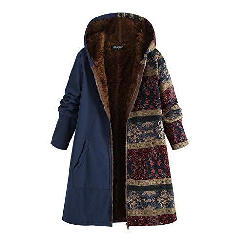 TOPKEAL Jacke Warme Mantel Damen Herbst Winter Sweatshirt Blumendruck mit Kapuze Kapuzenjacke Hoodie Taschen Pullover Übergroße Outwear Coats Mode Tops (Blau, XXXXXL)