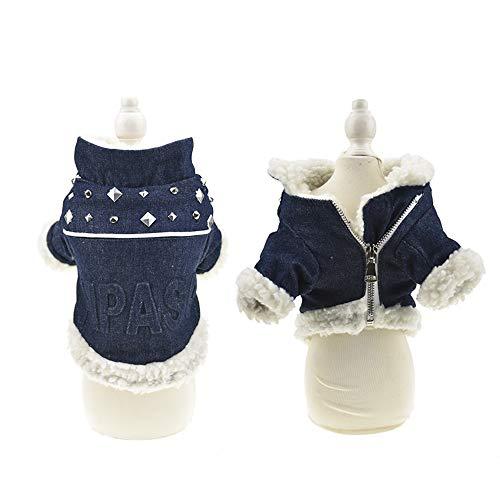 MuYaoPet Hunde-Jeansjacke, Punk-Nieten, klassischer Kapuzenpullover, Winter-Fleece-gefüttert, Baumwoll-gepolsterter Mantel für kaltes Wetter, für kleine und mittelgroße Hunde, L, blau