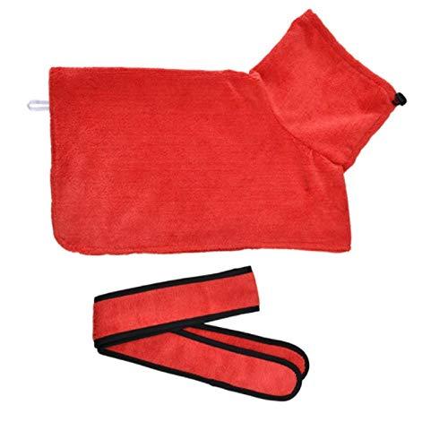 Toallas de baño para Perros o Gatos pequeños y medianos Microfibra Super Absorción-Cuello Alto Red_XS