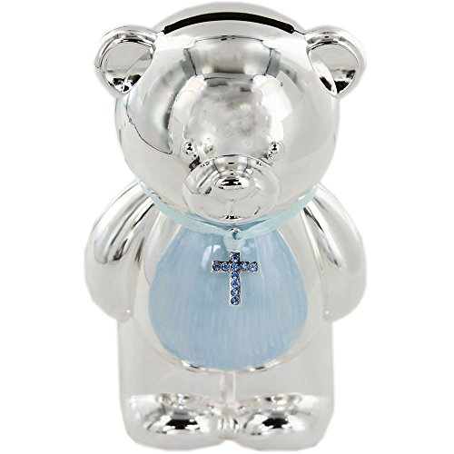 Christening Gift Silver Plated Blue Enamelled Teddy Money Box by Lesser&Pavey