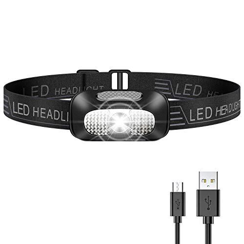 Linterna Frontal LED, USB Rechargeable Linterna Cabeza, Ligero Impermeable Linternas Frontales para Camping, Pesca, Correr, Caza, Deportes Nocturnos