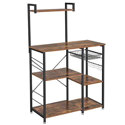 VASAGLE ALINRU Baker's Rack, Kitchen Utility Storage Shelf, 6 S-Hooks, Microwave Oven Stand, Utility Storage for Spices, Pots, and Pans, Rustic Brown UKKS35X