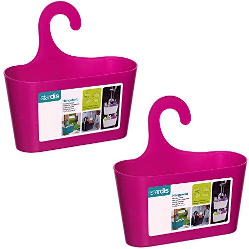 stardis 2er-Set Duschkorb zum Hängen - ohne Bohren - Duschablage aus Kunststoff Bad-Regal Duschregal Utensilo Aufbewahrungskorb, Farbe:Pink