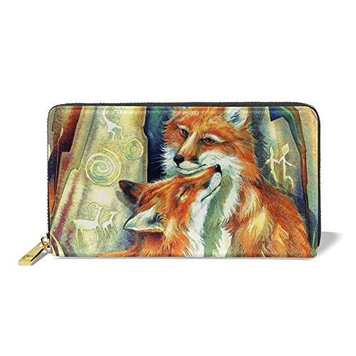 Women Genuine Leather Wallets Fox Love Credit Card Holder Organizer Ladies Purse Zipper Around Clutch Cash Pocket
