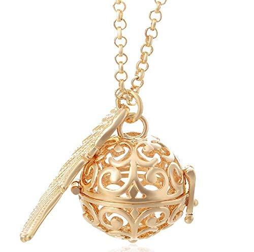 Halskette Qin Yinzhu Engelsflügel Halskette Kristall Parfüm Ätherisches Öl Aromatherapie Schmuck-Gold + 80Cm Kette