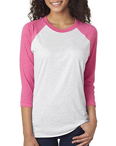 Next Level Unisex 3/4-Sleeve Raglan T-Shirt, Vintage Pink/HTHR Wht, X-Large