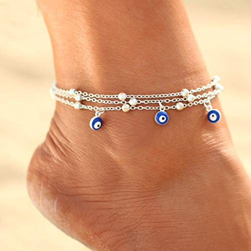 Unicra Bracelet de cheville bohème réglable en argent pour femme et fille