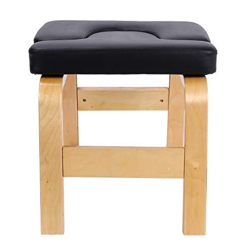 Ausla Kopfstandhocker, Yoga Kopfstandstuhl Kopfstandbank mit Abnehmbarer PU-Kissen, Yoga Inversion Stuhl, aus Birke, für Familie Gym, 63 x 41 x 38 cm