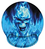 Meffort Inc Mouse Pad with Wrist Rest Support & Non-Slip Base, Durable Ergonomic Gaming Mousepad - Blue Skull