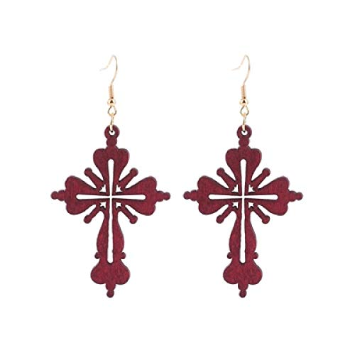 DFDLNL Earings Holiday Popular Religious Wooden Cross Hollow Out Pendant Earrings For Faith Women Party Gifts red