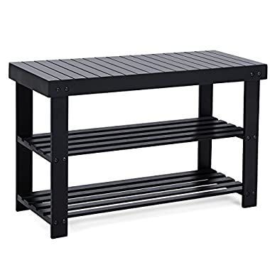 SONGMICS Black Shoe Rack Bench, 3-Tier Bamboo Shoe Organizer, Storage Shelf, Holds Up to 264 Lb, Ideal for Entryway Hallway Bathroom Living Room and Corridor