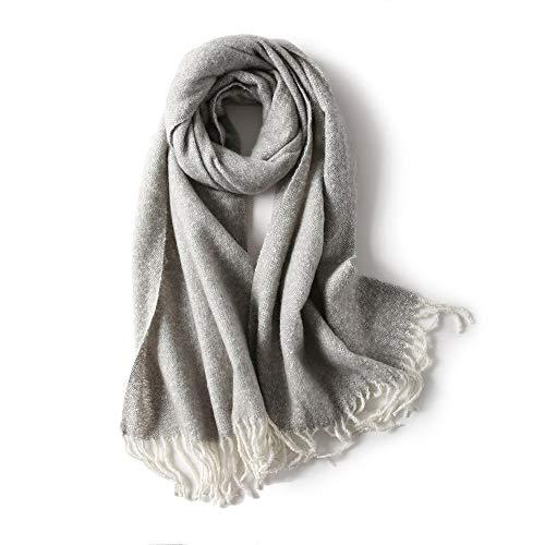Bufanda Cálido Invierno de Mujer Párrafo Largo Estilo Europeo y Americano Color sólido Borla Moda Salvaje Collar (Color : E)