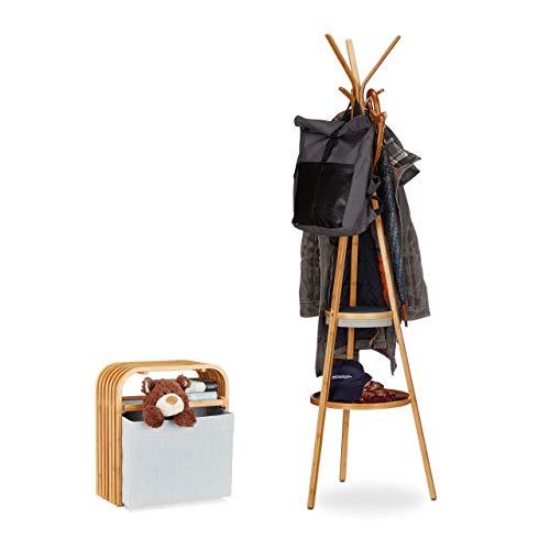 Relaxdays 2 TLG. Garderoben-Set, Garderobe mit Ablage, Hocker mit Aufbewahrung, aus Bambus, Kleiderständer, Sitzhocker, Natur/grau
