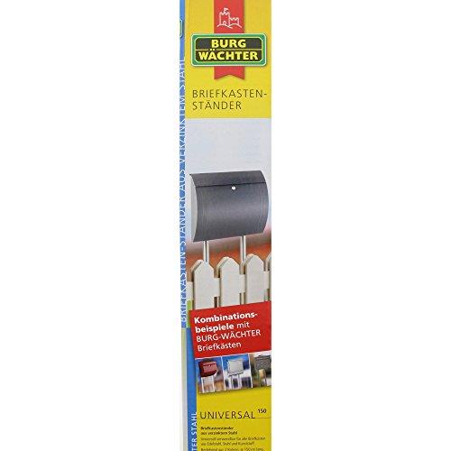 BURG-WÄCHTER Briefkasten-Ständer  Universal 150 Si, bestehend aus 2 Rohren, verzinkter Stahl, silber, 150 x 3,2 x 3,2 cm