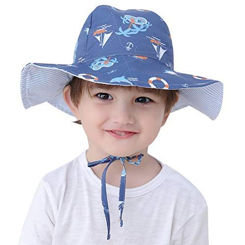 Bleu Pentacle Happy Cherry Chapeau de Soleil avec Mentonni/ère Plage Anti-UV Solaire pour B/éb/é//Enfant Outdoor Coton Taille l