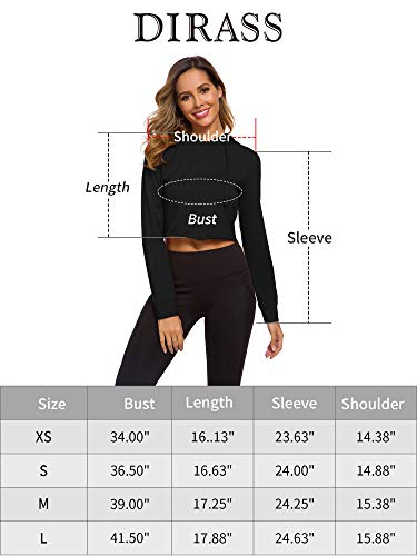 DIRASS Women's Long Sleeve/Sleeveless Casual Loose Active Hooded Crop Tank Top