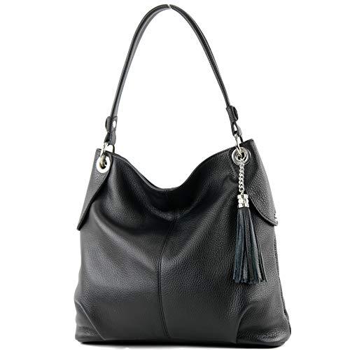 modamoda de - T185 - ital. Damen Schultertasche aus Leder, Farbe:Schwarz
