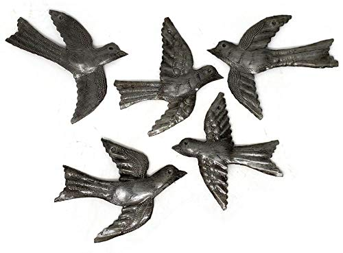 Set of 5 Small Birds Flying, Decorative Bird, Metal Wall Hanging Ornaments, Haitian Recycled Figurines, Nature Inspired 4 x 5 Inches