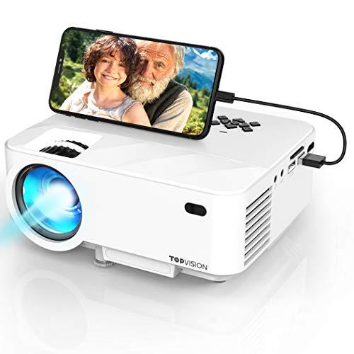 "Synchronize Smartphone Screen Mini Beamer, 3800 Lumen TOPVISION Video projektor, 1080P unterstützt, 200\"" Display, 50000 Stunden LED, kompatibel mit HDMI / USB / TV / DVD für Home Entertainment Office"