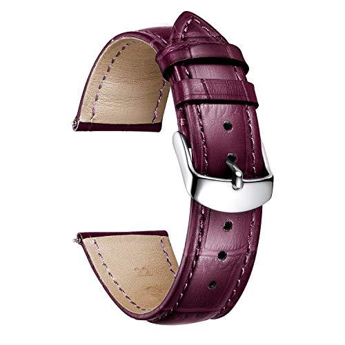 BINLUN Bracelet de Montre en Cuir de Veau véritable de Remplacement Bracelet étanche avec Motif Crocodile en 10 Couleurs et 13 Tailles pour Hommes Femmes (12/13/14/15/16/17/18/19/20/21/22/23/24mm)