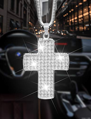 Alonar Bling Sparkly Car Interior Hanging Charms Car Accessories for Women Crystal White Cross Jesus Ornament for Rear View Mirror Cute Girly Diamond Rhinestone Pendant Decor (White)