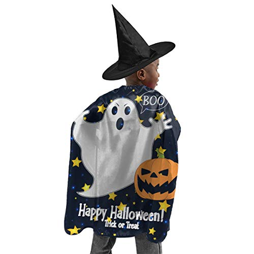 Sherdahon Halloween Decorations Logo Print of Funny Ghost in A Cartoon Cloak with Hat for Kids Halloween Costumes,Witch Cape Black
