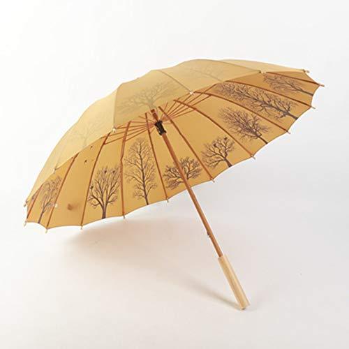 TONGS 16K Solide Holz Griff Gerade Pole Lange Griff Regenschirm Retro Literarisch Ventilator Dual-Use Regenschirm Draussen Vorräte Draussen Produkte / A1 / 103