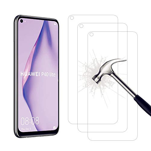 AHABIPERS Screen Protector for Huawei P40 Lite Tempered Glass, 9H Ultra Hardness [Anti-Scratch / Oil / Fingerprint /] HD Clear Screen Protector for Huawei P40 Lite - 3 Pieces